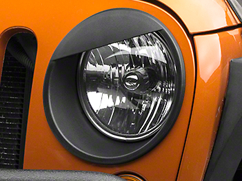 RedRock 4x4 Angry Eye Headlight Bezels - Black (07-18 Jeep Wrangler JK)