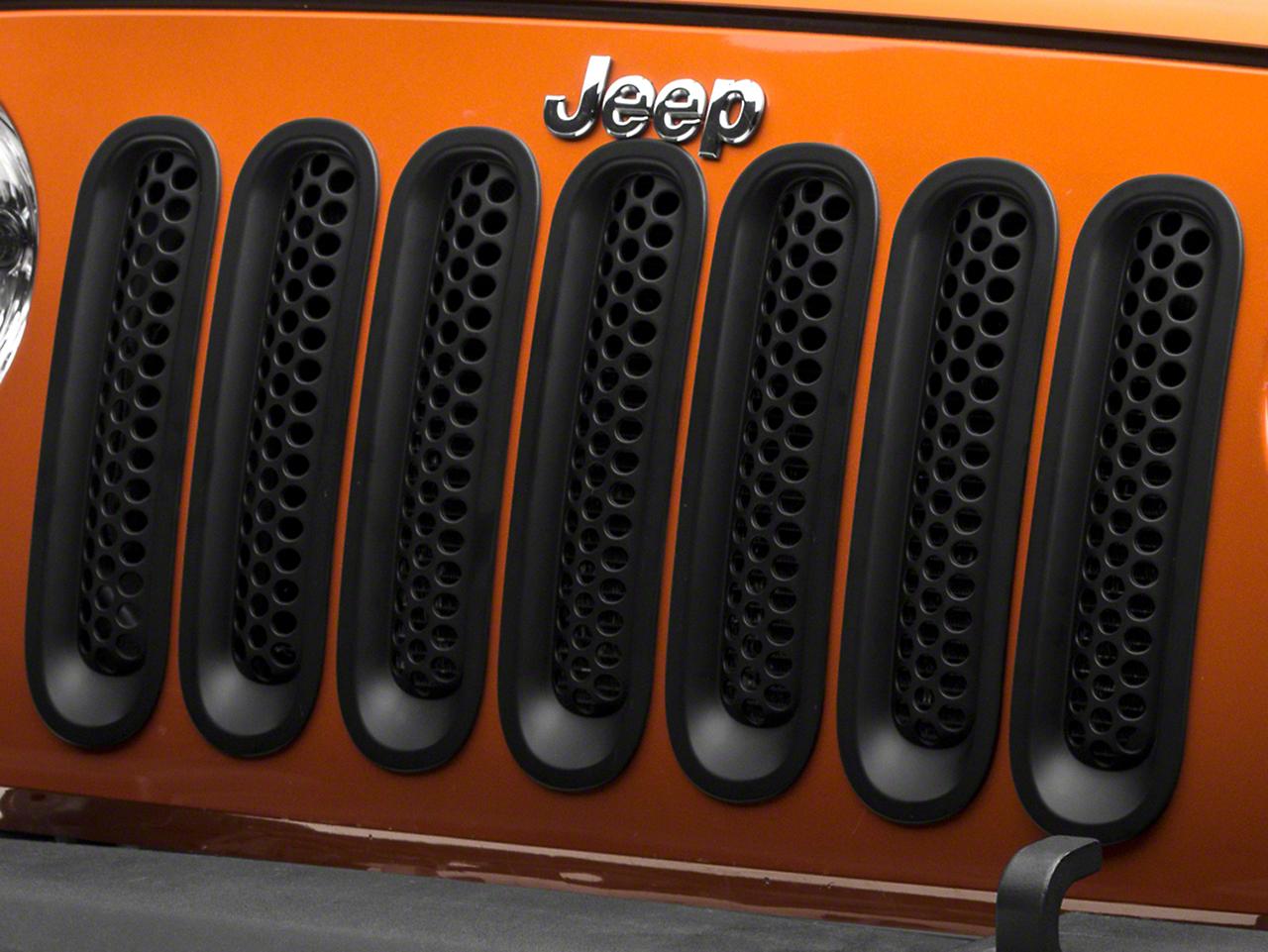 RedRock 4x4 Mesh Grille Inserts - Matte Black (07-18 Jeep Wrangler JK)