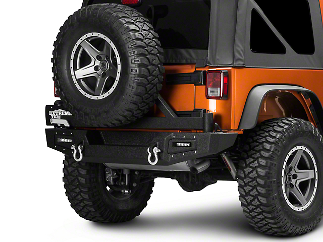 Barricade Vision Series Rear Bumper with Tire Carrier and LED Work Lights (07-18 Jeep Wrangler JK)