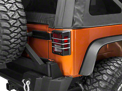 Rugged Ridge Elite Tail Light Guards - Brushed Black (07-18 Jeep Wrangler JK)