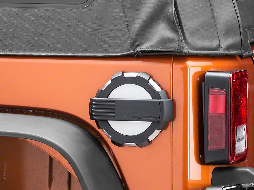 Rugged Ridge Elite Non-Locking Fuel Door - Brushed Aluminum (07-18 Jeep Wrangler JK)
