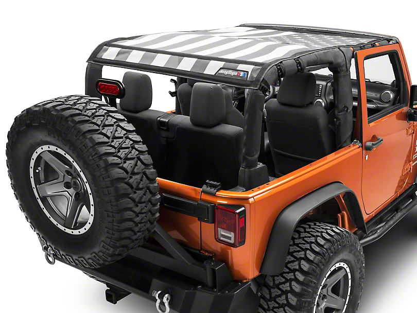 JTopsUSA Mesh Shade Top - Tactical US Flag (07-18 Jeep Wrangler JK 2 Door)
