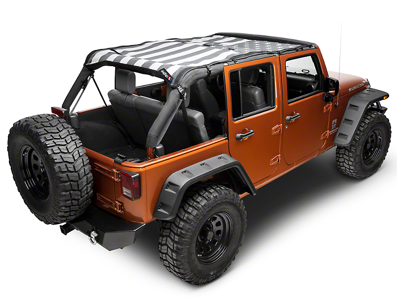 JTopsUSA Mesh Shade Top - Tactical US Flag (07-18 Jeep Wrangler JK 4 Door)