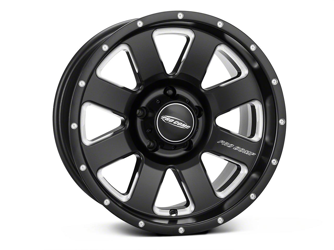 Pro Comp Alloy Series 83 Vapor Satin Black Milled Wheel - 17x9 (07-18 Wrangler JK)