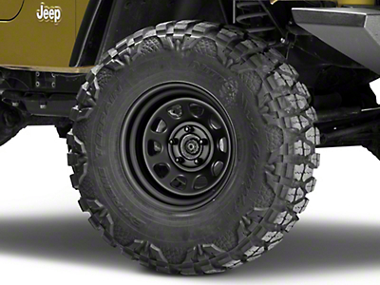 Pro Comp Steel Series 51 District Flat Black Wheel - 15x8 (87-06 Jeep Wrangler YJ & TJ)