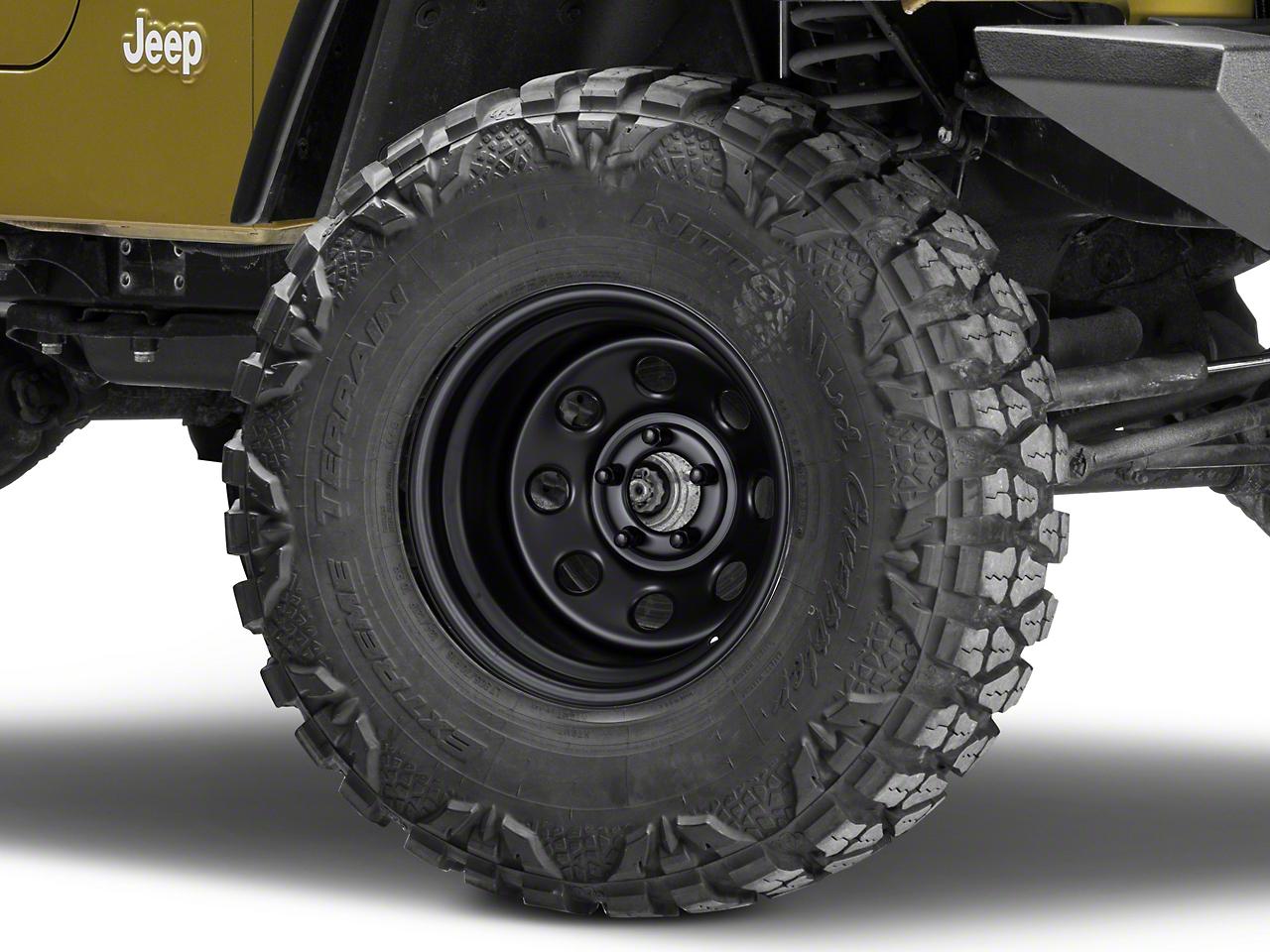 Pro Comp Steel Series 97 Rock Crawler Flat Black Wheel - 15x10 (87-06 Wrangler YJ & TJ)