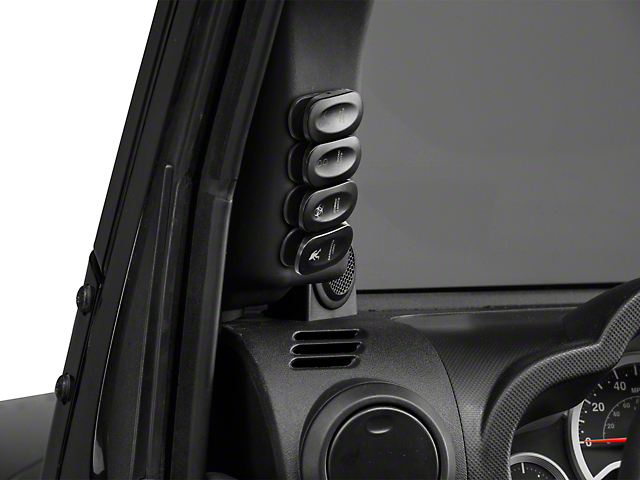 Rugged Ridge Driver Side Etched A-Pillar 4 Switch Pod Kit - Black (07-10 Jeep Wrangler JK)