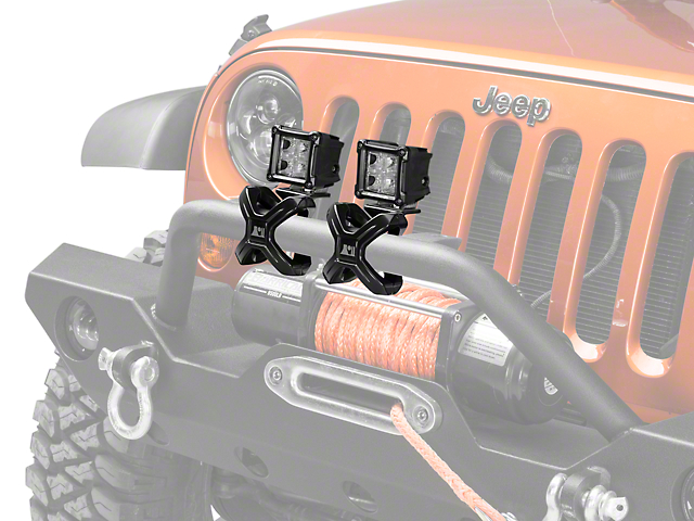 Rugged Ridge 3-Inch Square LED Lights with Large X-Clamp; Dual Beam