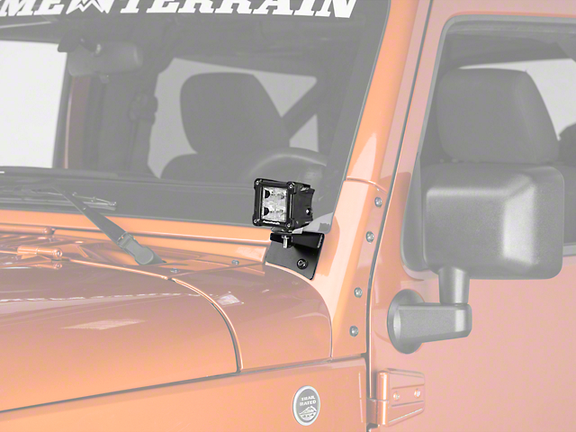Rugged Ridge 3 in. Square Dual Beam LED Lights w/ Textured Black Windshield Mounting Brackets (07-18 Wrangler JK)