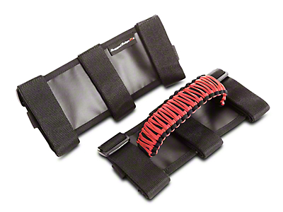 Rugged Ridge Paracord Grab Handles - Red and Black (87-18 Wrangler YJ, TJ & JK)