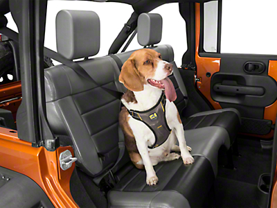 Kurgo Extended Strength Tru-Fit Dog Harness w/ Seat Belt Tether - Black (87-18 Wrangler YJ, TJ, JK & JL)