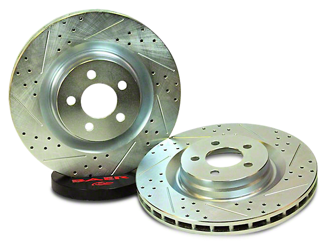 Baer Sport Drilled and Slotted Rotors; Rear Pair (07-18 Jeep Wrangler JK)