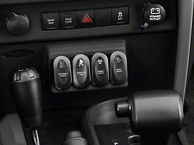 Rugged Ridge Black Lower Console Switch Panel w/ 5 Rocker Switches (07-10 Jeep Wrangler JK w/ Automatic Transmission)