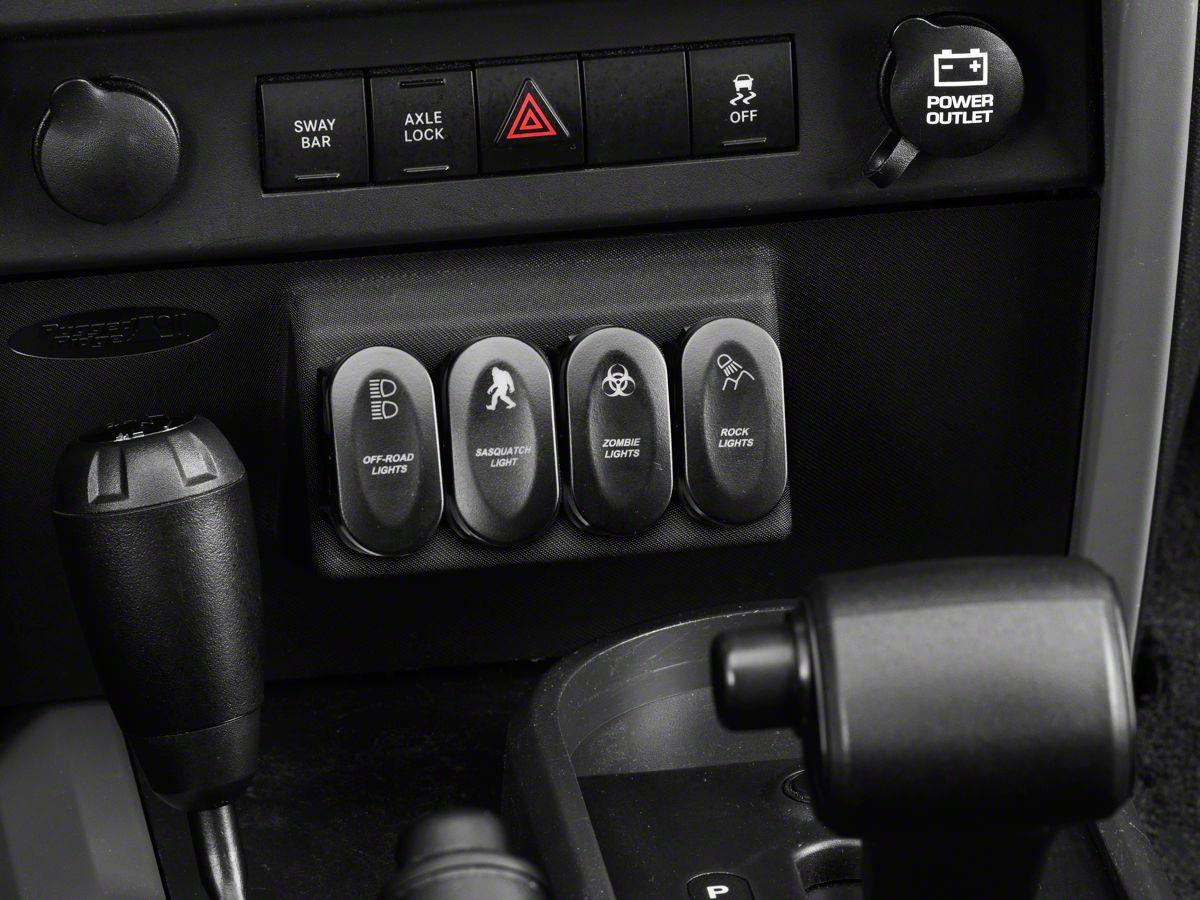 Rugged Ridge Black Lower Console Switch Panel w/ 5 Rocker Switches (07-10  Jeep Wrangler JK w/ Automatic Transmission)