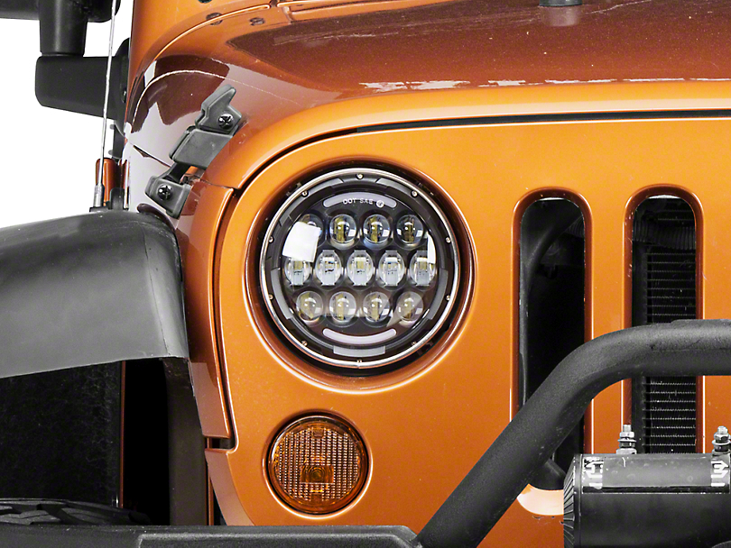 Raxiom 7 in. 13 LED Headlights w/ Partial Halo (97-18 Jeep Wrangler TJ & JK)