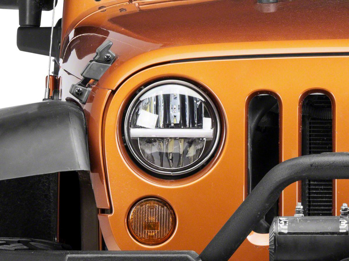 Jeep Wrangler Led Headlights >> Raxiom 7 In Led Headlights W Horizontal Accent Light 97 18 Jeep Wrangler Tj Jk