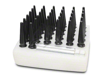 Coyote Black Spike Lug Nut Kit - 1/2 in. - 5 Wheel Kit (87-18 Wrangler YJ, TJ & JK)