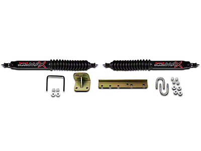 SkyJacker Black MAX Dual Steering Stabilizer Kit (87-95 Wrangler YJ)