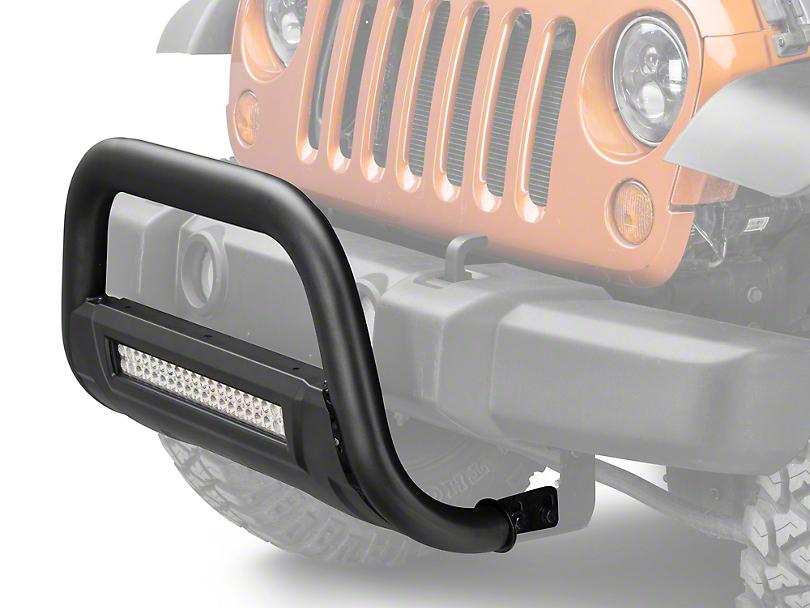 Barricade HD Bull Bar w/ Skid Plate & 20 in. Dual-Row LED Light Bar - Textured Black (10-18 Jeep Wrangler JK)