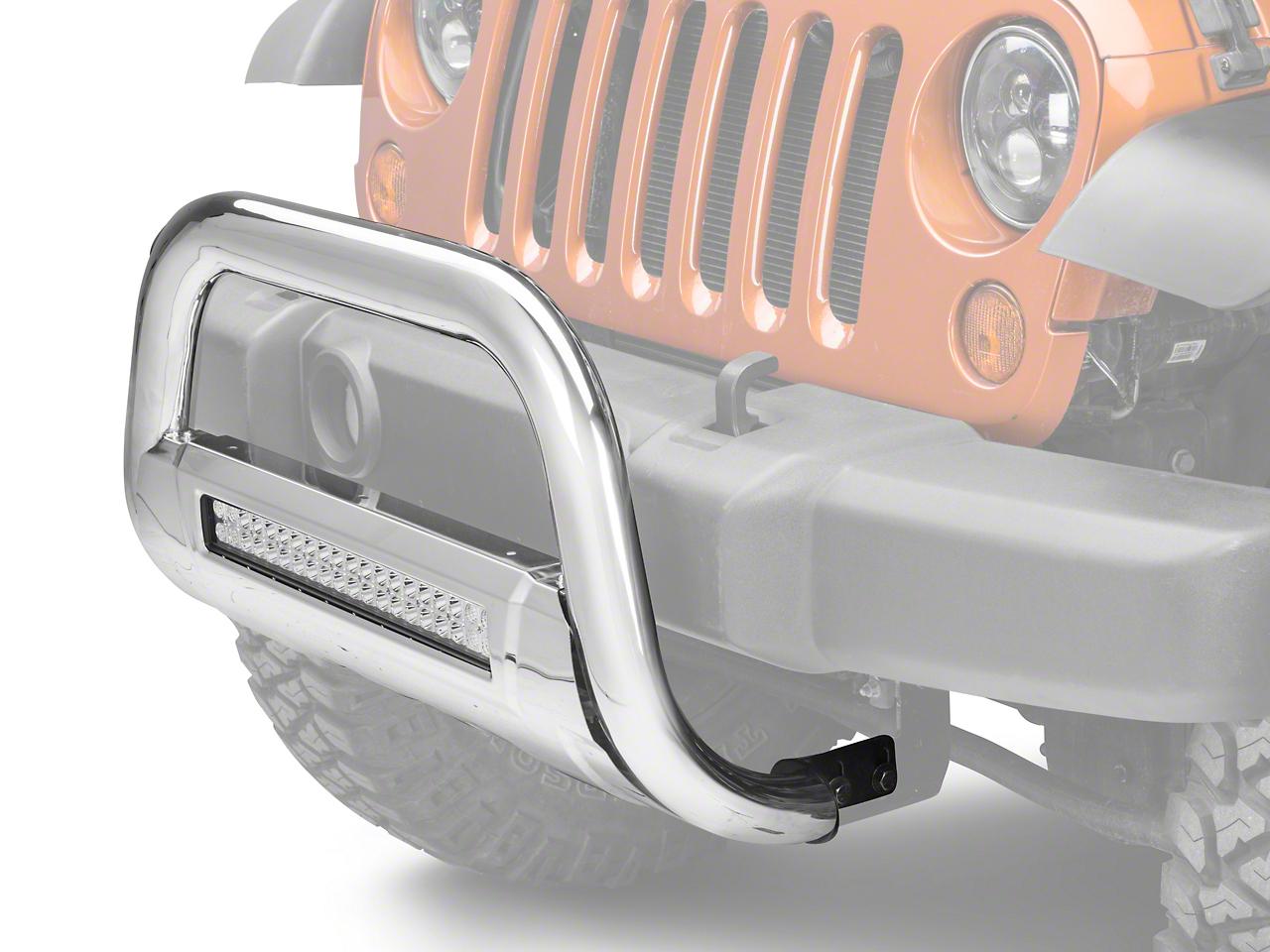 Barricade HD Bull Bar w/ Skid Plate & 20 in. LED Dual-Row LED Light Bar - Polished SS (10-18 Jeep Wrangler JK)