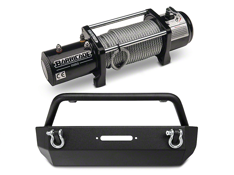 Barricade Extreme HD Stubby Front Bumper & 9,500 lb. Winch Combo (07-18 Jeep Wrangler JK)