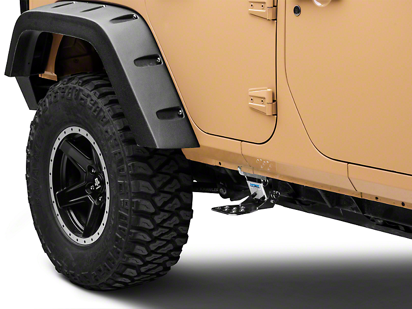 M.O.R.E. Rear Hide-A-Step - Silver (07-18 Wrangler JK 4 Door)