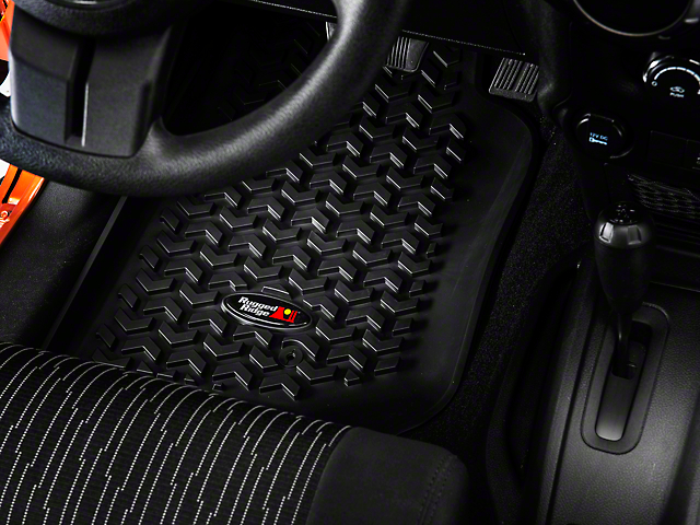 Rugged Ridge All-Terrain Front & Rear Floor Mats - Black (07-18 Jeep Wrangler JK 2 Door)