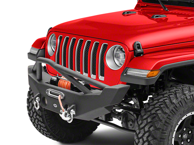 DV8 Offroad FS-12 Hammer Forged Mid Width Front Bumper with Fog Light Mounts (18-21 Jeep Wrangler JL)
