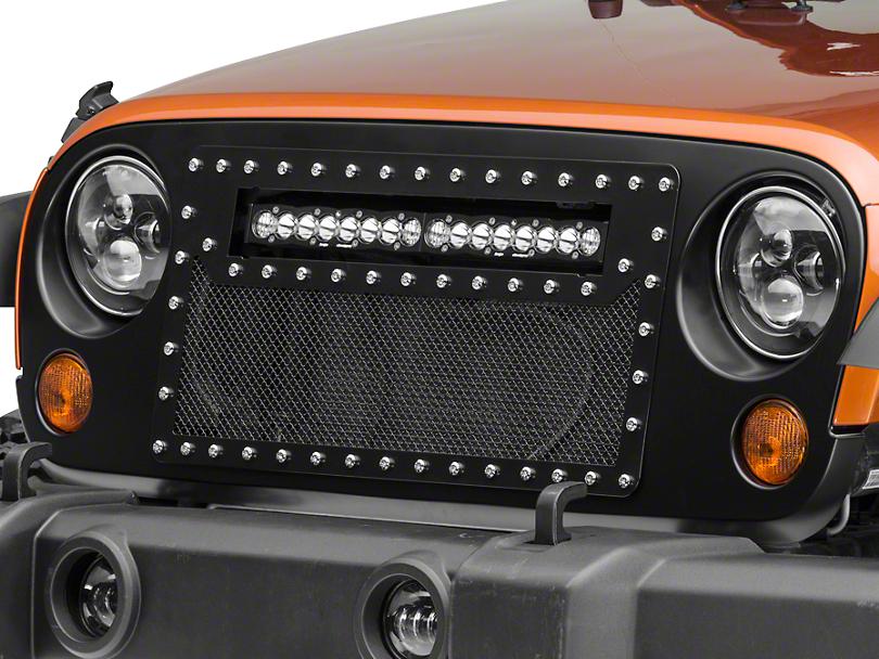 DV8 Off-Road Mesh LED Grille for 20 in. LED Light Bar - Black (07-18 Jeep Wrangler JK)