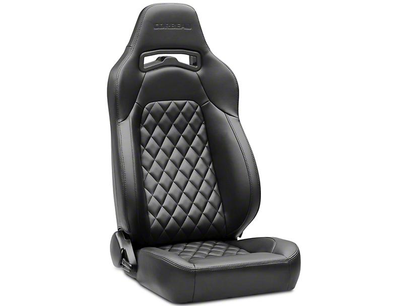 Corbeau Trailcat Diamond Pattern Seats w/ Black Stitching - Black Vinyl - Pair (87-18 Jeep Wrangler YJ, TJ & JK; Seat Brackets are Required for TJ & JK Models)