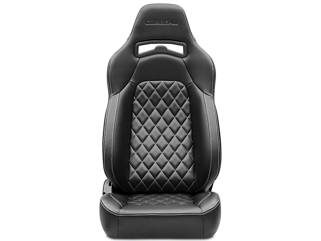 Corbeau Trailcat Diamond Pattern Seats w/ White Stitching - Black Vinyl - Pair (87-18 Jeep Wrangler YJ, TJ & JK; Seat Brackets are Required for TJ & JK Models)