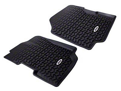 Rugged Ridge All Terrain Front Floor Liners w/ Jeep Logo - Black (87-95 Jeep Wrangler YJ)