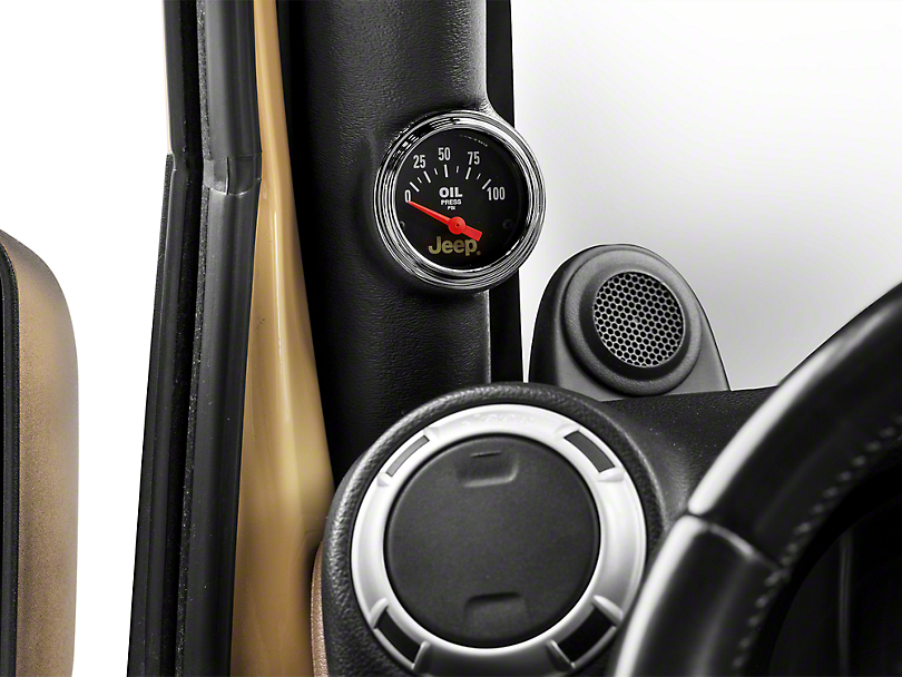 Auto Meter Oil Pressure Gauge - Electrical - Jeep Logo (87-18 Wrangler YJ, TJ & JK)