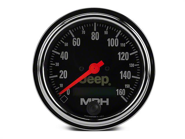 Auto Meter Programmable Speedometer Gauge - 0-160 MPH - Electrical - Jeep Logo (87-20 Jeep Wrangler YJ, TJ, JK & JL)