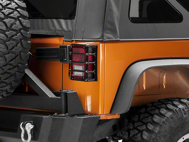 RedRock 4x4 Euro Style Tail Light Guards - Black (07-18 Jeep Wrangler JK)