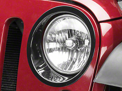 RedRock 4x4 Headlight Bezels - Gloss Black (07-18 Jeep Wrangler JK)