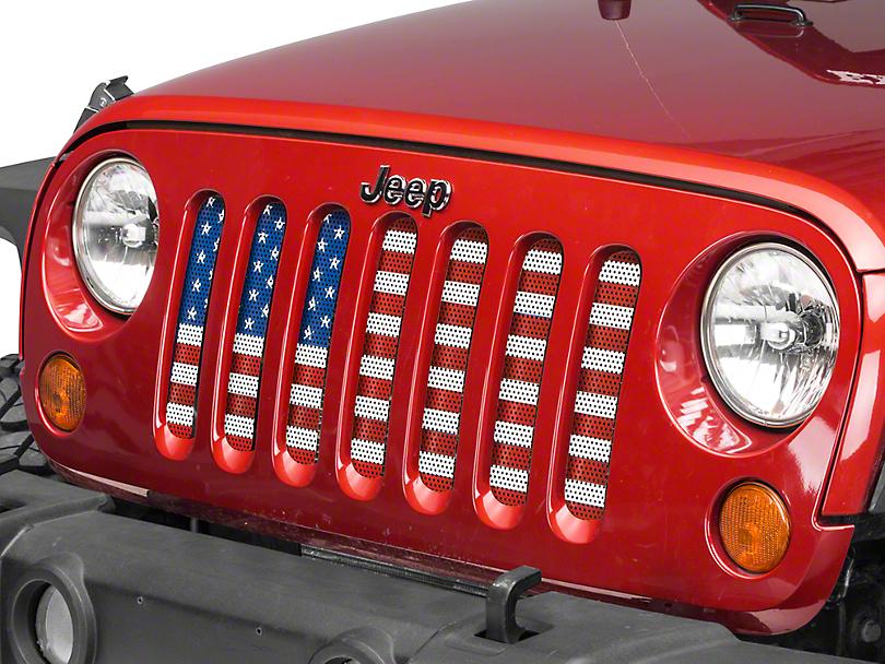 18754492 RedRock 4x4 Jeep Wrangler Old Glory Mesh Grille Insert J108022 (07-18 Jeep  Wrangler JK)