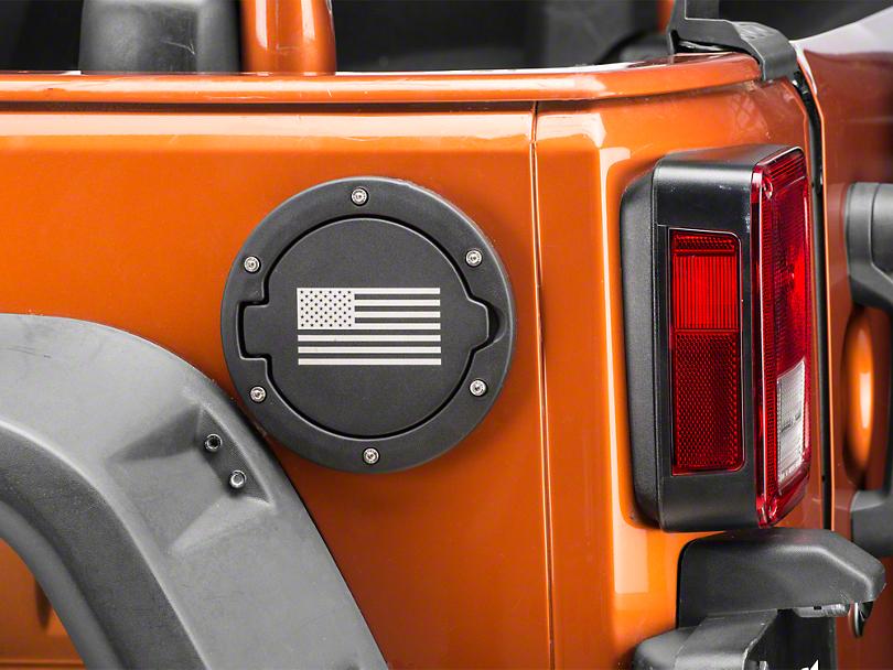 RedRock 4x4 Old Glory Fuel Door Cover - Textured Black (07-18 Wrangler JK)