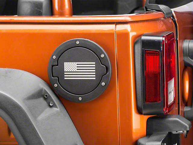 RedRock 4x4 Old Glory Fuel Door Cover; Textured Black (07-18 Jeep Wrangler JK)