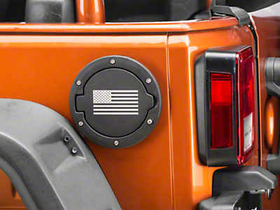 RedRock 4x4 Old Glory Fuel Door Cover - Textured Black (07-18 Wrangler JK)