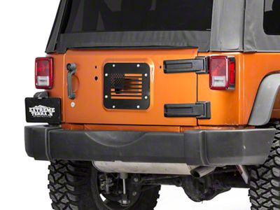 97 TO 2006 Jeep Wrangler  TJ Spare Tire Carrier Delete Tramp Stamp ARMY STAR