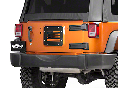 RedRock 4x4 Old Glory Spare Tire Delete Plate - Textured Black (07-18 Jeep Wrangler JK)
