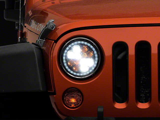 Axial Spider LED Headlights with Amber DRL and Angel Eye Halo; Chrome Housing; Clear Lens (97-18 Jeep Wrangler TJ & JK)