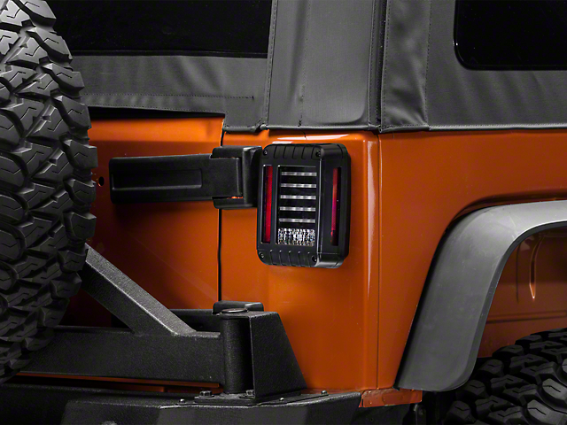 Perfect Axial LED Tail Lights   Textured Black Housing (07 18 Jeep Wrangler JK)