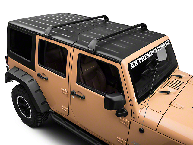 Rhino Rack Vortex SG 2 Bar Roof Rack   Black (07 10 Jeep Wrangler JK 2  Door; 07 18 Jeep Wrangler JK 4 Door; 2018 Jeep Wrangler JL 4 Door)