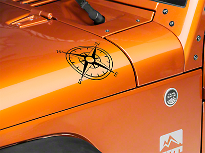 XT Graphics Small Compass Decal Set - Black (87-18 Jeep Wrangler YJ, TJ, JK & JL)