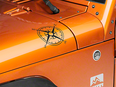 XT Graphics Small Compass Decal Set - Matte Black (87-18 Jeep Wrangler YJ, TJ, JK & JL)
