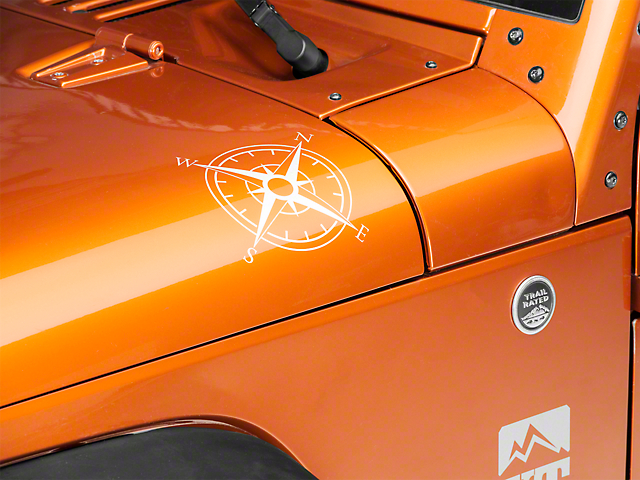 Small Compass Decal Set - White (87-20 Jeep Wrangler YJ, TJ, JK & JL)