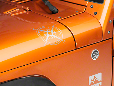 XT Graphics Small Compass Decal Set - Silver (87-18 Wrangler YJ, TJ & JK)