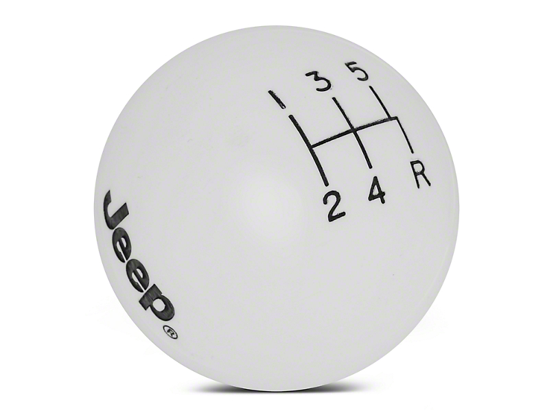 Speed Dawg Shift Knob w/ Jeep Logo - White (97-06 Jeep Wrangler TJ)
